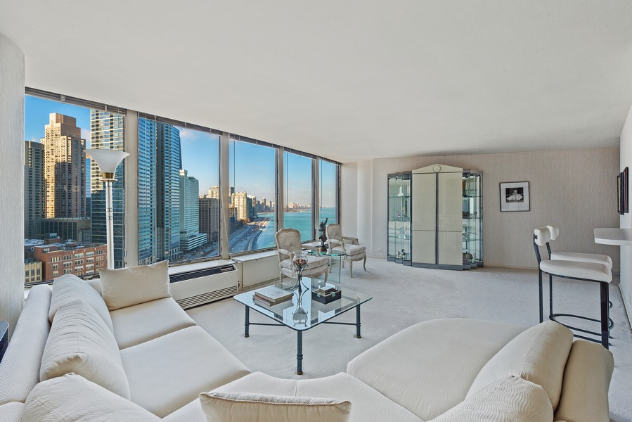 Real Estate Photography - 505 N Lakeshore, Unit 1801, Chicago, IL, 60611 - Living Room
