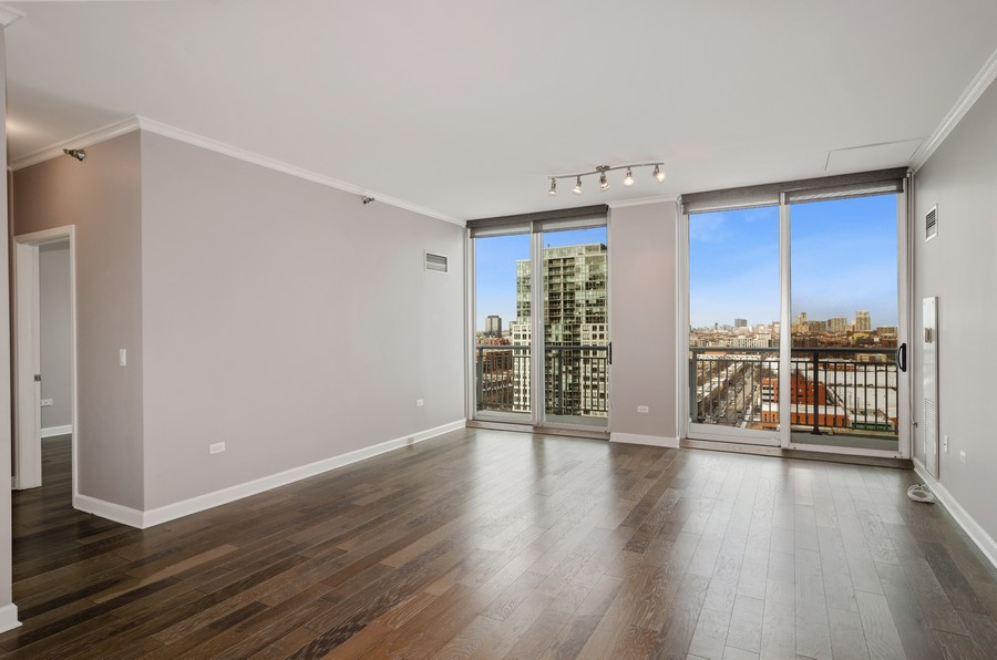 Real Estate Photography - 421 W Huron, Unit 1503, Chicago, IL, 60654 - Living Room