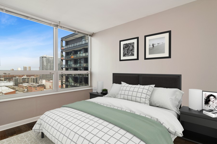 Real Estate Photography - 421 W Huron, Unit 1503, Chicago, IL, 60654 - 2nd Bedroom