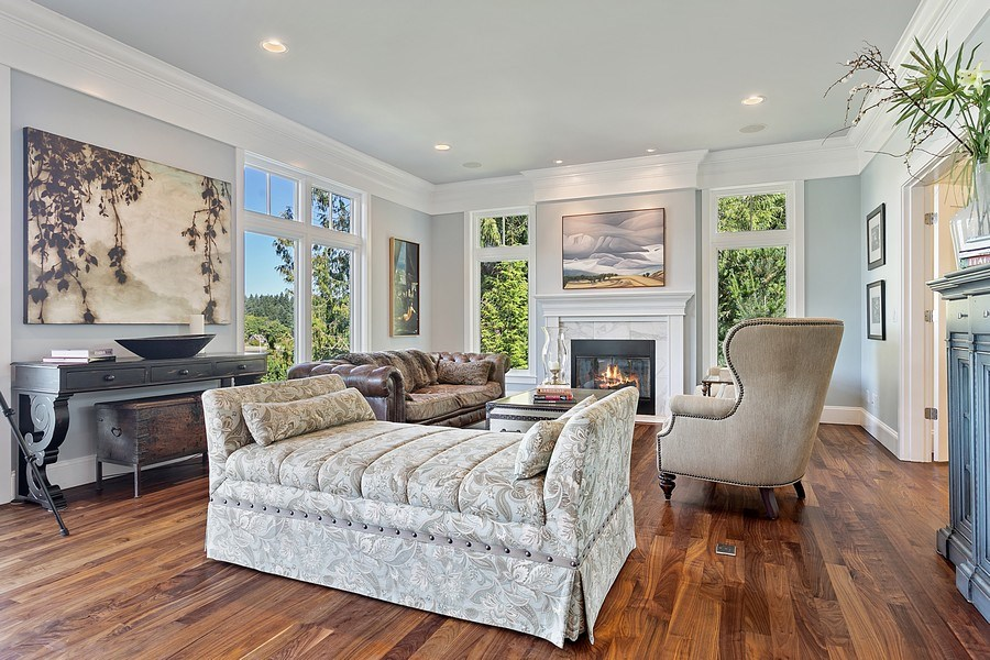 Real Estate Photography - 16480 Euclid Ave, Bainbridge Island, WA, 98110 - Living Room