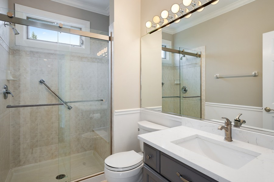 Real Estate Photography - 22935 N. Woodcrest Lane, Kildeer, IL, 60047 - Main Level Full Bath / Adjacent to 5th bedroom/off