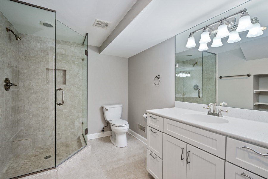 Real Estate Photography - 22935 N. Woodcrest Lane, Kildeer, IL, 60047 - Basement Bathroom