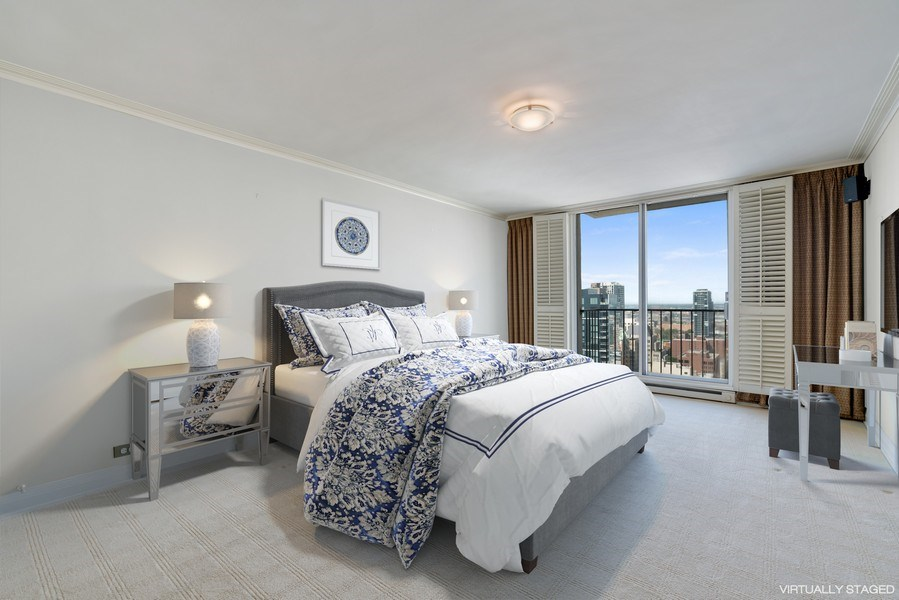 Real Estate Photography - 1212 N Lake Shore Drive, 32AS, Chicago, IL, 60610 - Master Bedroom
