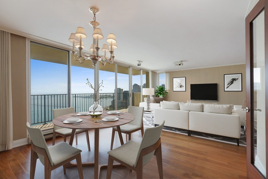 Real Estate Photography - 1212 N Lake Shore Drive, 32AS, Chicago, IL, 60610 - Dining Room