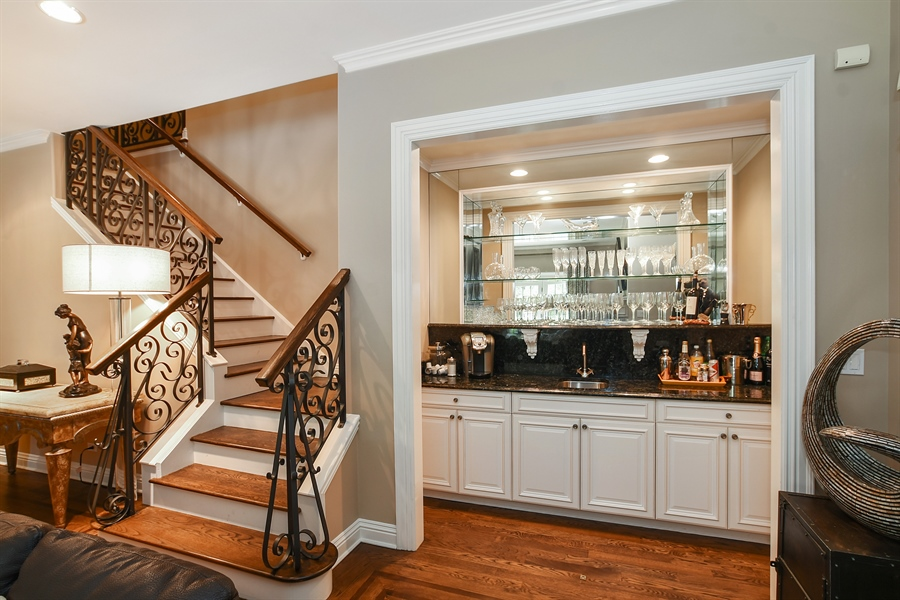 Real Estate Photography - 3393 Old Mill Rd, Highland Park, IL, 60035 - Bar/Second Staircase