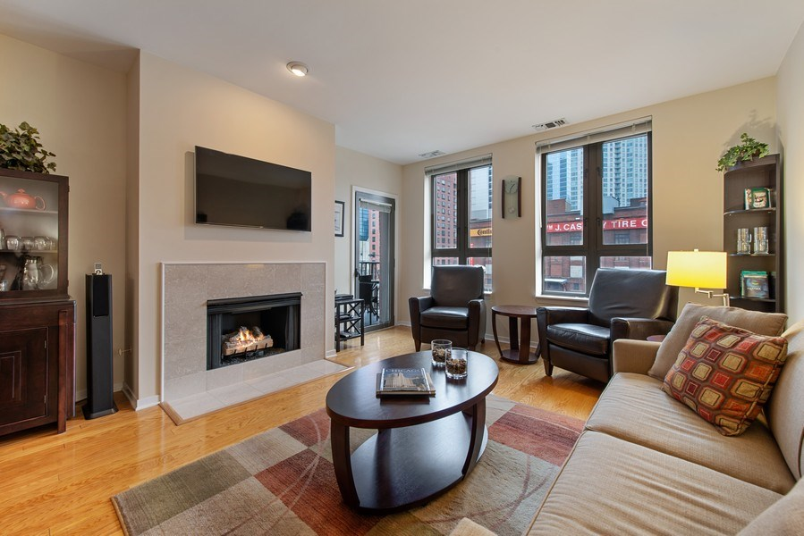 Real Estate Photography - 400 N Clinton, Unit 404, Chicago, IL, 60654 - Living Room