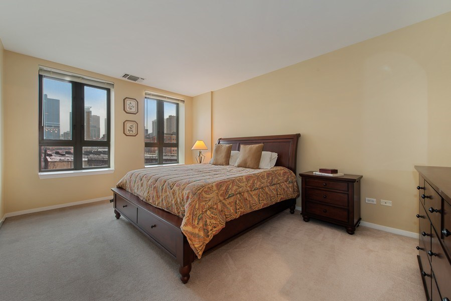 Real Estate Photography - 400 N Clinton, Unit 404, Chicago, IL, 60654 - Master Bedroom