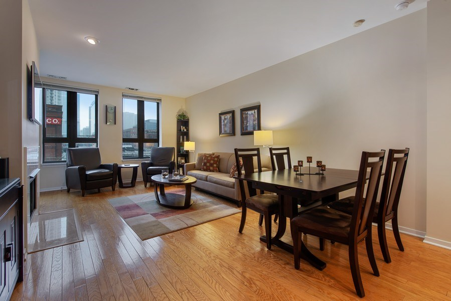 Real Estate Photography - 400 N Clinton, Unit 404, Chicago, IL, 60654 - Living Room / Dining Room