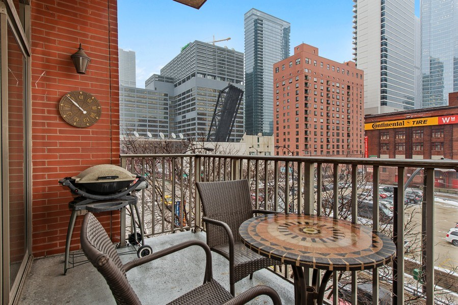Real Estate Photography - 400 N Clinton, Unit 404, Chicago, IL, 60654 - Balcony
