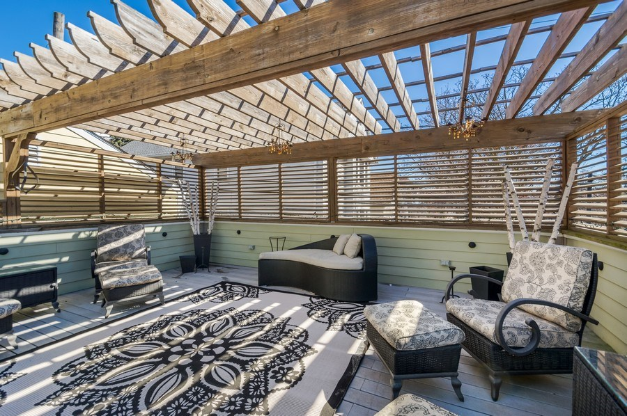Real Estate Photography - 3133 N Hoyne Avenue, Chicago, IL, 60618 - Garage Roof Deck with Pergola