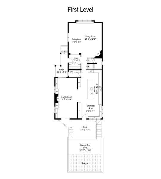 Real Estate Photography - 3133 N Hoyne Avenue, Chicago, IL, 60618 - Floor Plan Main Level