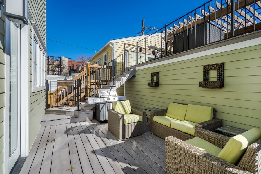 Real Estate Photography - 3133 N Hoyne Avenue, Chicago, IL, 60618 - Deck Area directly outside of back door
