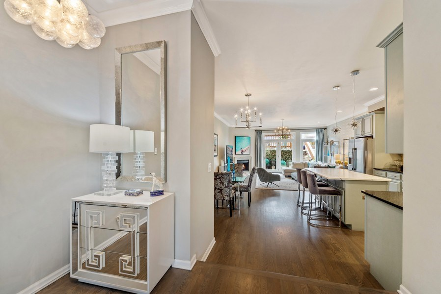 Real Estate Photography - 2339 W. Ohio ST., Chicago, IL, 60612 - Kitchen/Dining/Family Room view from Living Room
