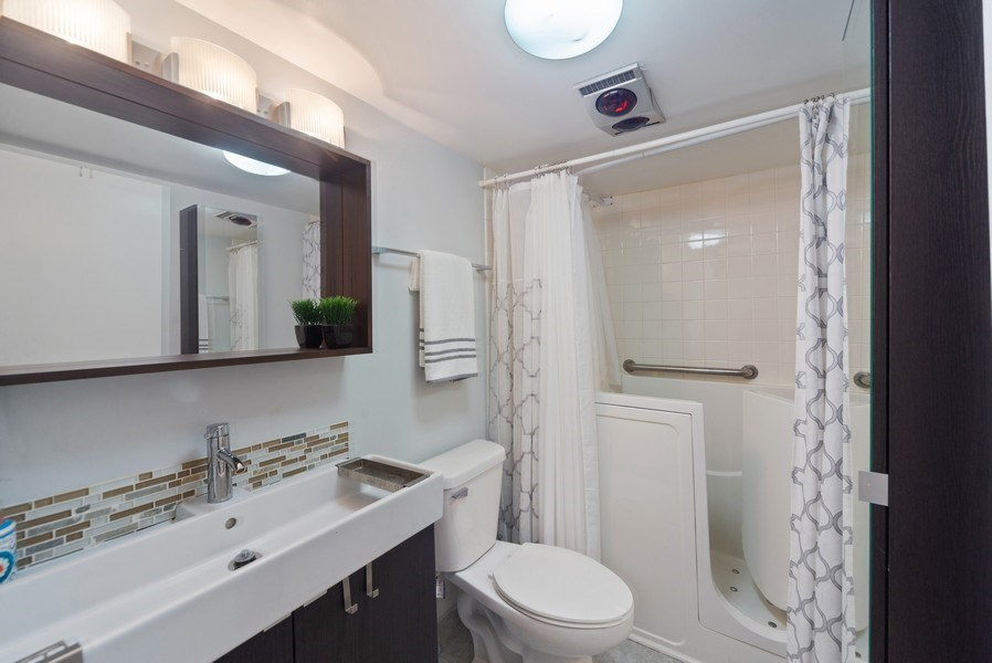 Real Estate Photography - 4240 N Keystone Ave, 2B, Chicago, IL, 60641 - Walk-In Shower/ Bath