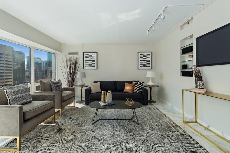 Real Estate Photography - 100 E Huron, 1104, Chicago, IL, 60610 - Den