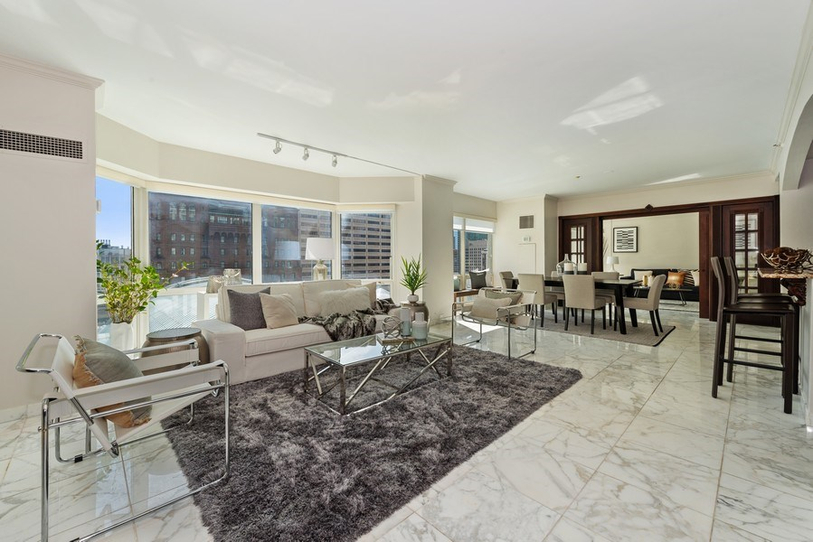 Real Estate Photography - 100 E Huron, 1104, Chicago, IL, 60610 - Living Room / Dining Room