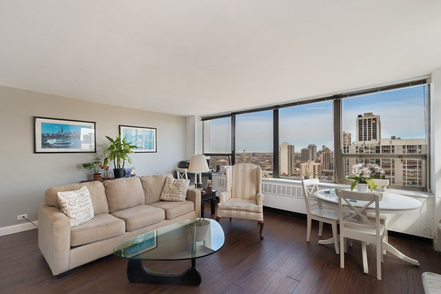 Real Estate Photography - 1360 N Sandberg Ter., Unit 2808C, Chicago, IL, 60610 - Living Room