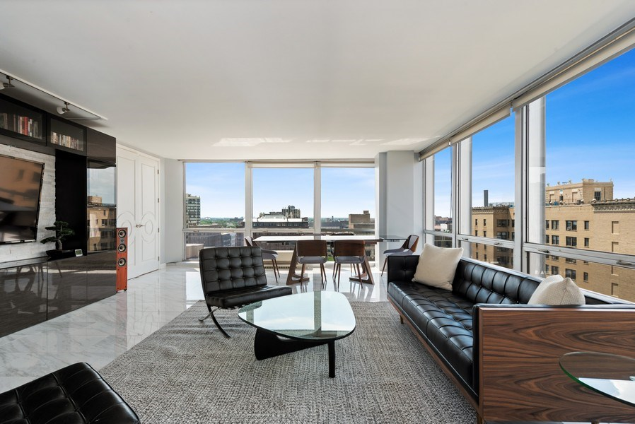 Real Estate Photography - 340 W Diversey Pkwy, unit 1416, Chicago, IL, 60657 - Living Room