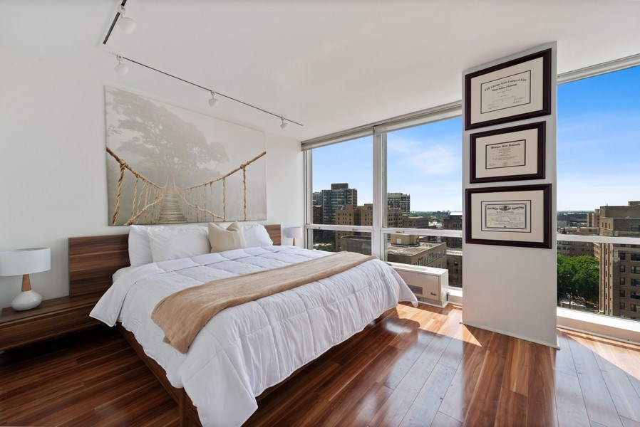 Real Estate Photography - 340 W Diversey Pkwy, unit 1416, Chicago, IL, 60657 - Master Bedroom