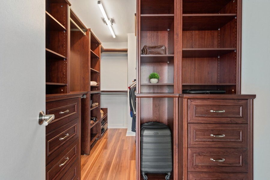 Real Estate Photography - 340 W Diversey Pkwy, unit 1416, Chicago, IL, 60657 - Master Bedroom Closet