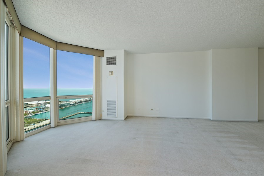 Real Estate Photography - 195 N. Harbor Dr., Unit #4509, Chicago, IL, 60601 - Living Room