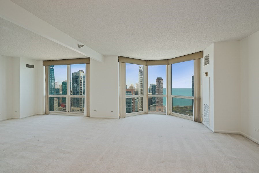 Real Estate Photography - 195 N. Harbor Dr., Unit #4509, Chicago, IL, 60601 - Living Room / Dining Room