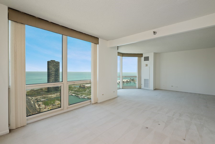 Real Estate Photography - 195 N. Harbor Dr., Unit #4509, Chicago, IL, 60601 - Living Room/Dining Room