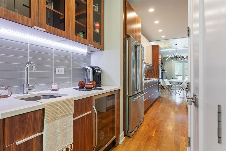 Real Estate Photography - 2435 W Homer, Unit 1E, Chicago, IL, 60647 - Butler's Pantry with wet bar and beverage center