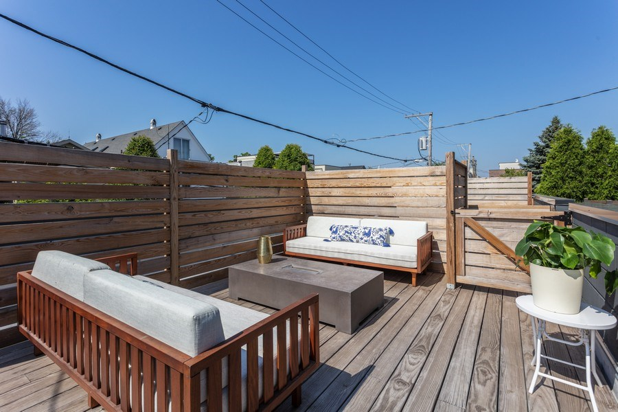 Real Estate Photography - 2435 W Homer, Unit 1E, Chicago, IL, 60647 - Private garage rooftop deck over PRIVATE 2 CAR GAR