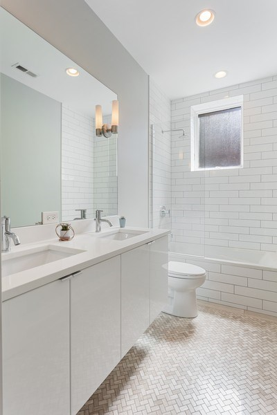 Real Estate Photography - 2435 W Homer, Unit 1E, Chicago, IL, 60647 - 2nd Bath with double vanity