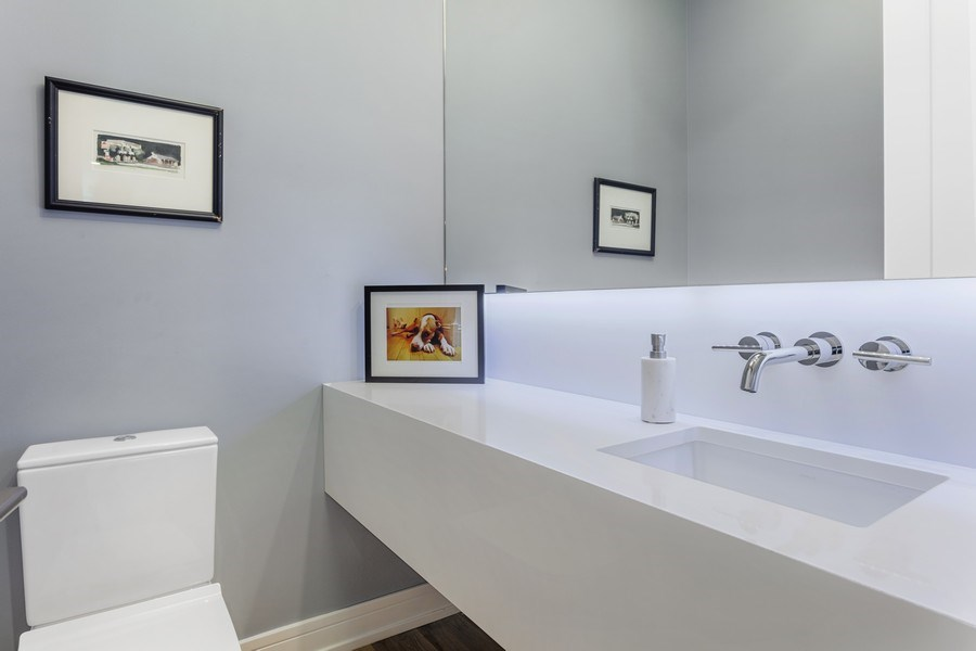 Real Estate Photography - 2435 W Homer, Unit 1E, Chicago, IL, 60647 - Powder Room on main level