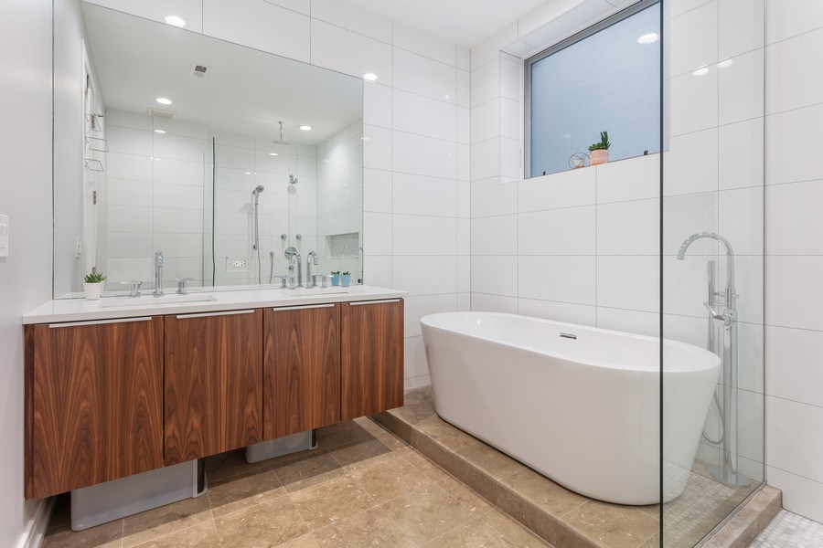 Real Estate Photography - 2435 W Homer, Unit 1E, Chicago, IL, 60647 - Master Bath