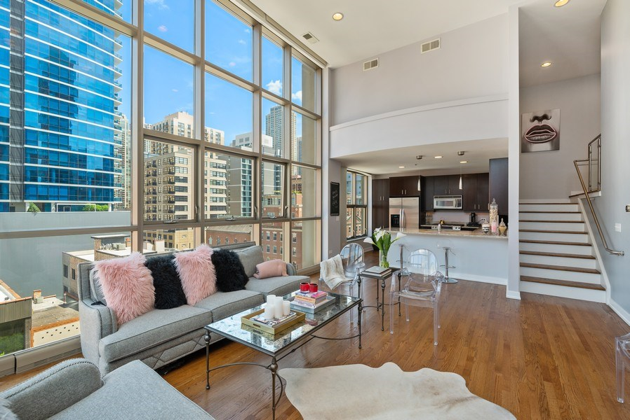 Real Estate Photography - 150 W. Superior St., 702, Chicago, IL, 60654 - Kitchen / Living Room