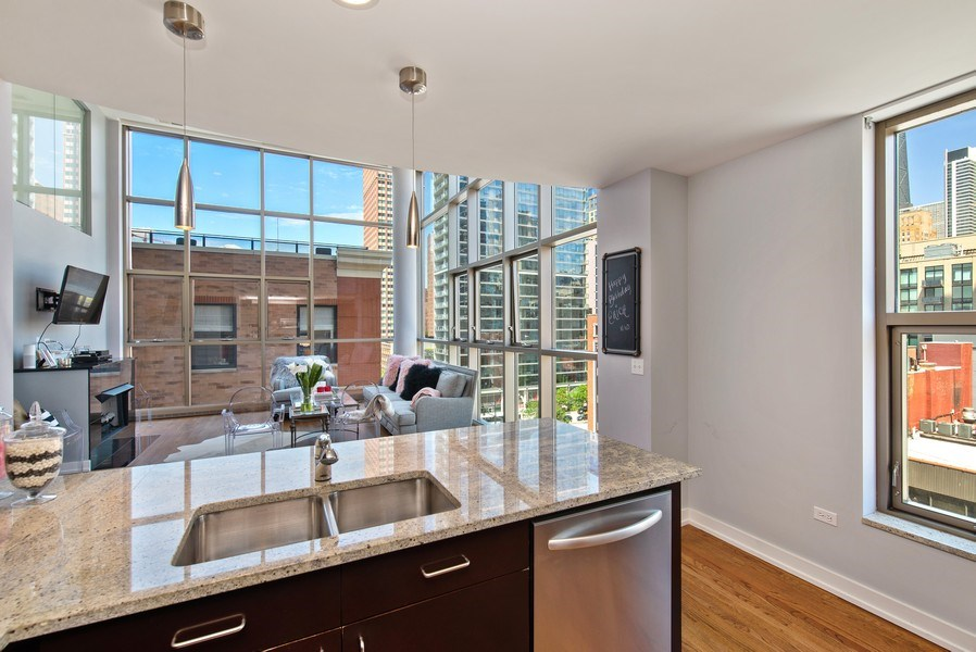 Real Estate Photography - 150 W. Superior St., 702, Chicago, IL, 60654 - Kitchen/Living