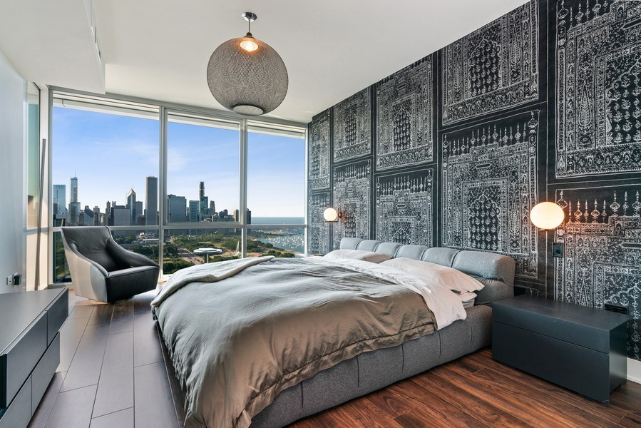 Real Estate Photography - 1201 S Prairie, 4201, Chicago, IL, 60605 - Master Bedroom