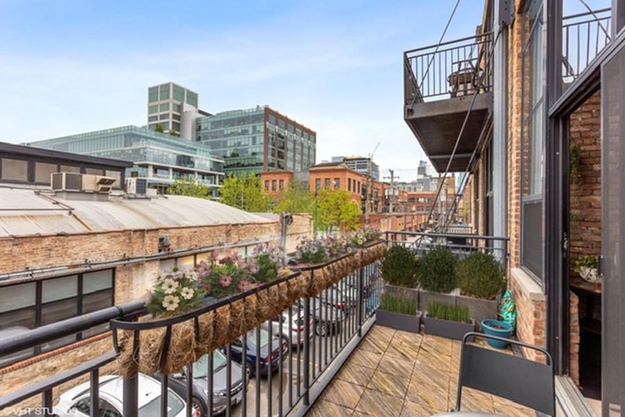 Real Estate Photography - 215 N. Aberdeen Unit 311A, Chicago, IL, 60607 - Balcony