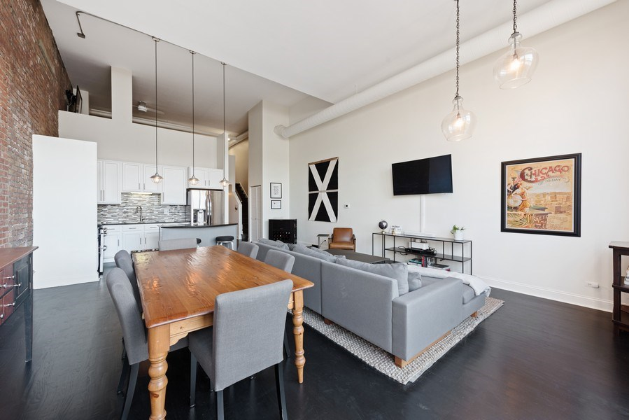 Real Estate Photography - 215 N. Aberdeen Unit 311A, Chicago, IL, 60607 - Living Room / Dining Room