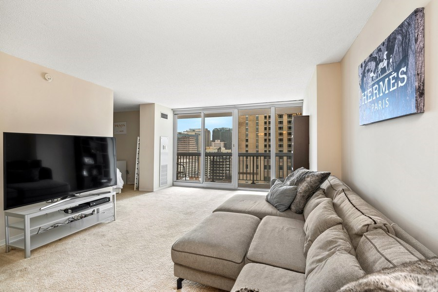 Real Estate Photography - 545 Dearborn, Unit W1606, Chicago, IL, 60654 - Living Room