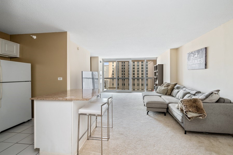 Real Estate Photography - 545 Dearborn, Unit W1606, Chicago, IL, 60654 - Kitchen / Living Room