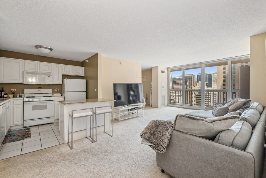 Real Estate Photography - 545 Dearborn, Unit W1606, Chicago, IL, 60654 - Kitchen/Living