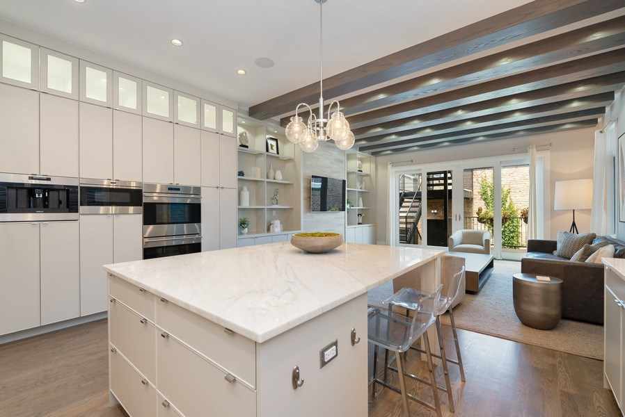 Real Estate Photography - 1428 W Wolfram Street, Chicago, IL, 60657 - Family Room / Kitchen