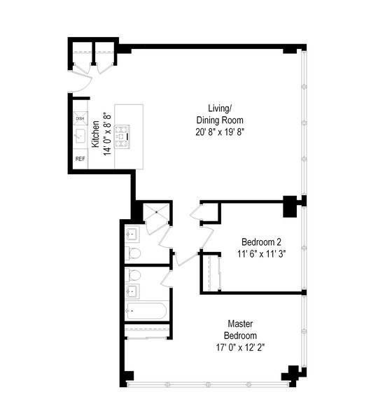 Real Estate Photography - 330 W Diversey, 2508, Chicago, IL, 60657 - Floor Plan