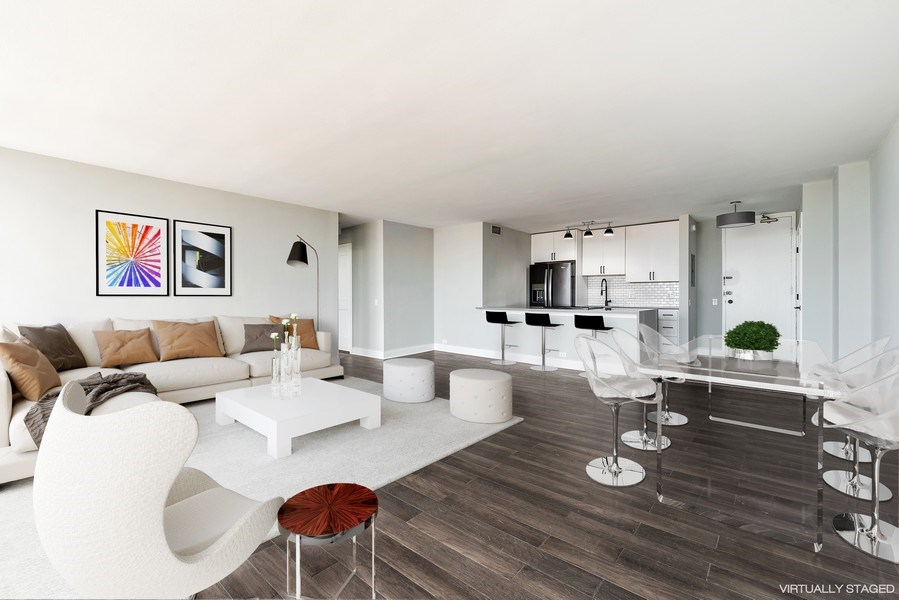 Real Estate Photography - 330 W Diversey, 2508, Chicago, IL, 60657 - Kitchen / Living Room