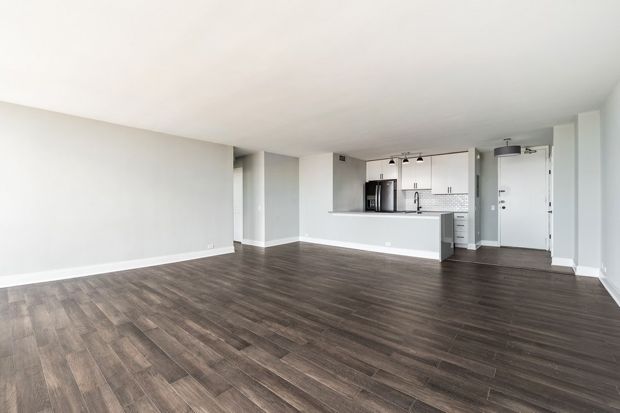 Real Estate Photography - 330 W Diversey, 2508, Chicago, IL, 60657 - Kitchen/Living