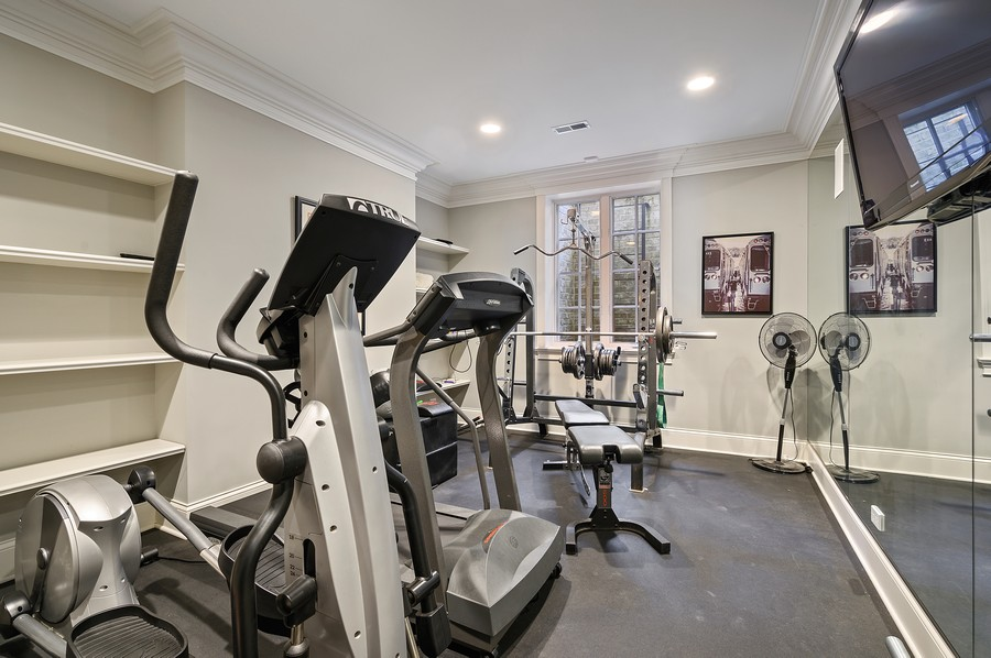 Real Estate Photography - 4 Golf Lane, Winnetka, IL, 60093 - Exercise Room