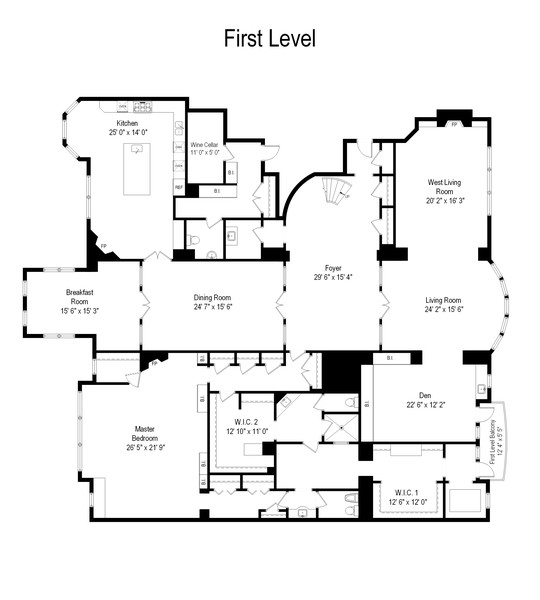 Real Estate Photography - 199 E Lake Shore Drive, 10E, Chicago, IL, 60611 - Floor Plan