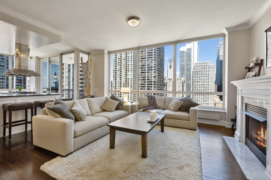 Real Estate Photography - 55 E Erie St, Unit 1801, Chicago, IL, 60611 - Living Room