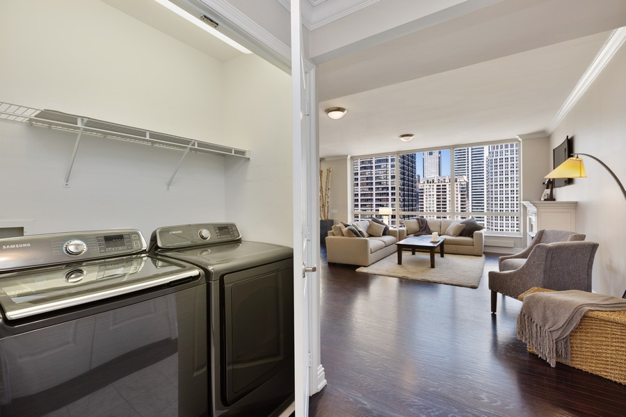 Real Estate Photography - 55 E Erie St, Unit 1801, Chicago, IL, 60611 - Laundry Room