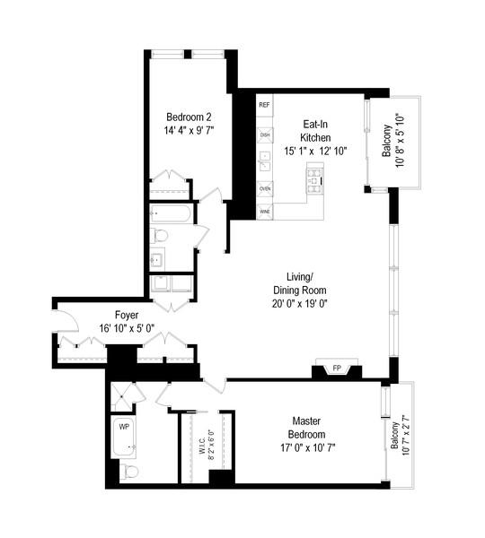 Real Estate Photography - 55 E Erie St, Unit 1801, Chicago, IL, 60611 - Floor Plan