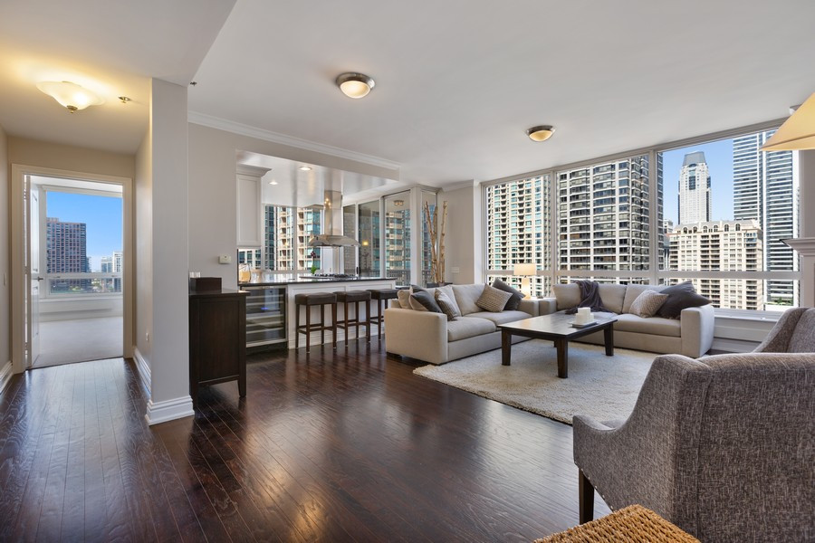 Real Estate Photography - 55 E Erie St, Unit 1801, Chicago, IL, 60611 - Kitchen / Living Room